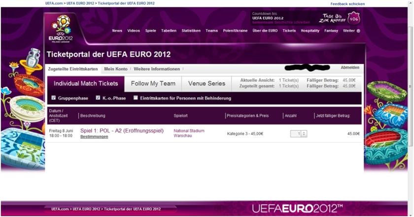 Ticket Euro