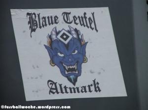 """Aufkleber """"Blaue Teufel Altmark""""."""